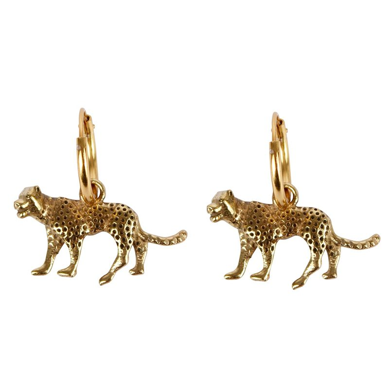 Handmade gold plated earrings Leopard