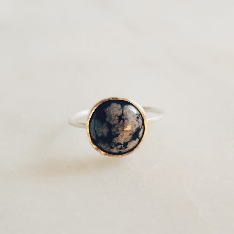 Handmade gemstone ring Moon