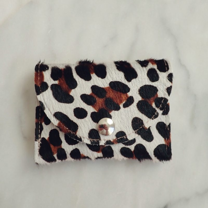 Handmade leather leopard wallet Dainty