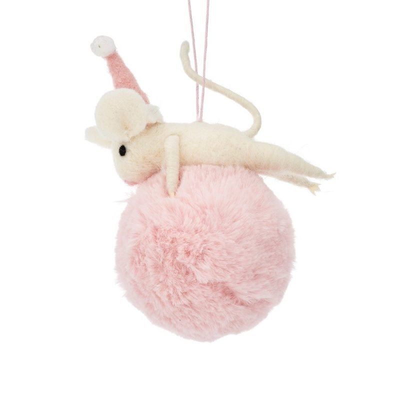 Pom Pom Mouse Hanging Felt Decoration