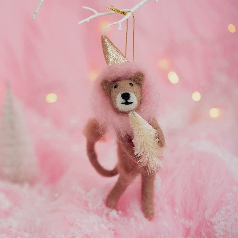 Pink Lion Hanging Felt Decoration