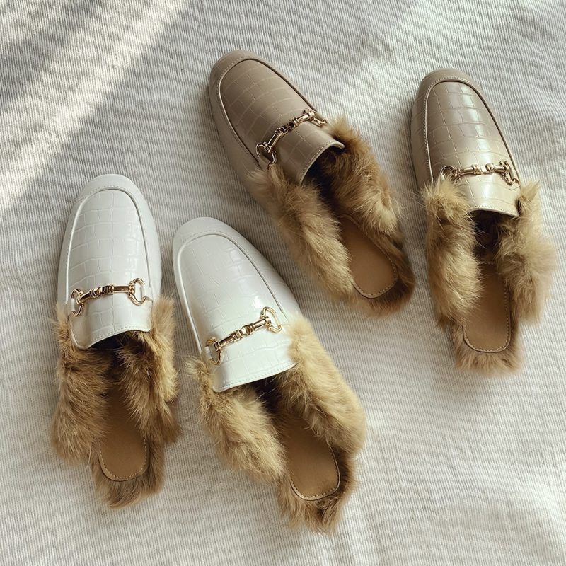 Faux Leather Loafers Blanche